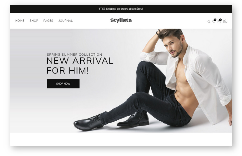Лучшие шаблоны WordPress для создания интернет-магазина — минималистичныая тема Stylista