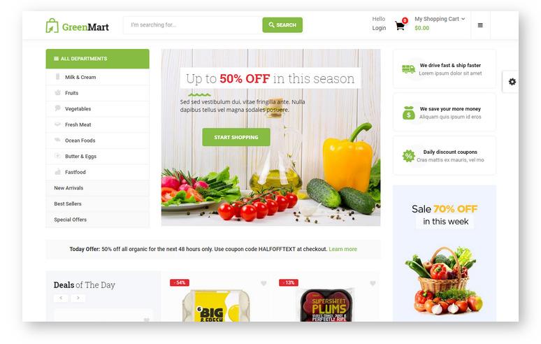 Стильная WooCommerce тема для создания онлайн-магазина в нише продукты