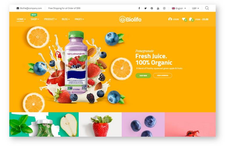 Яркий плоский шаблон WooCommerce для создания онлайн-магазина в нише продукты