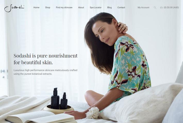 Sodashi.com.au - продающее графическое оформление главной и каталога. E-commerce сайт выглядит, как оздоровительный бутик