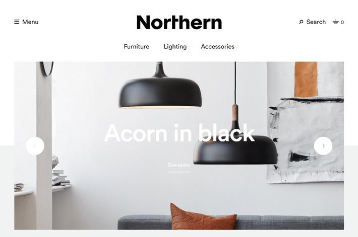 Лучшие интернет магазины на woocommerce - скандинавский стиль дизайна Northern Lighting