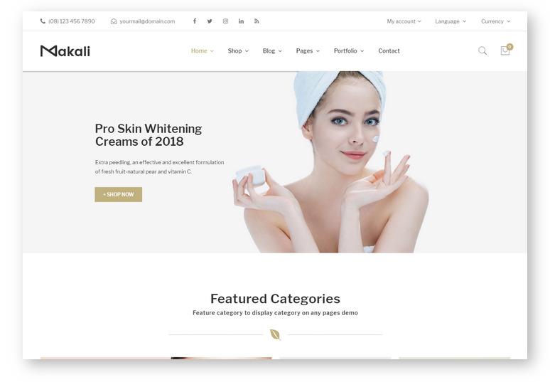 Современный WooCommerce шаблон для магазина макияжа и косметики