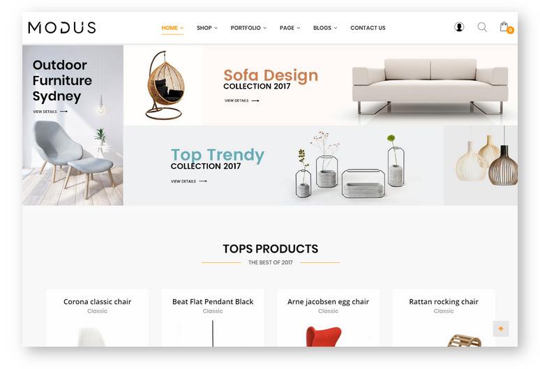 Шаблоны WordPress для интернет-магазина — Modus, тема для ниши мебель