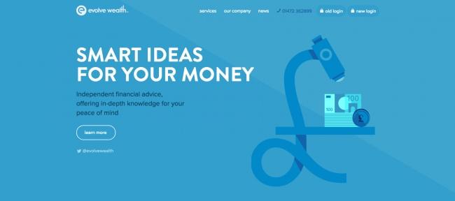 Особенности восприятия пользователями синего цвета на сайте Evolve Wealth