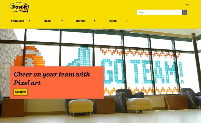 Символика желтого цвета на сайте Post-it