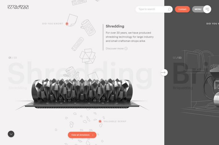Тренды веб-дизайна 2019: лейаут с фоновыми заголовками на сайте weima.com