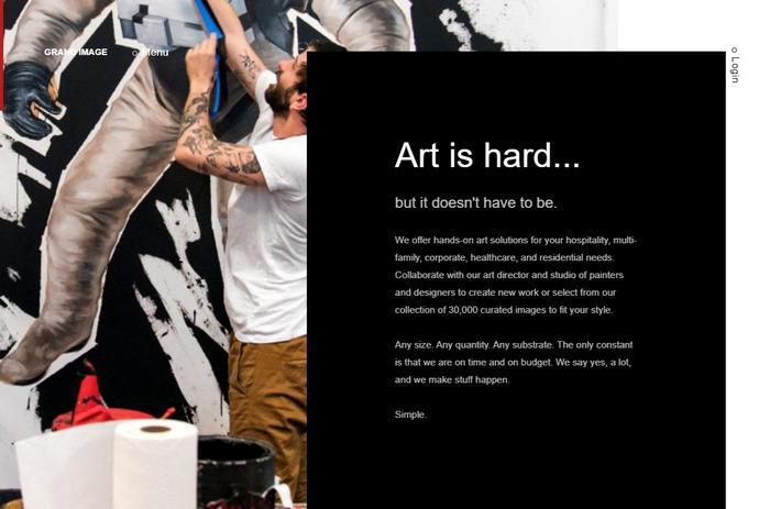 Красивый горизонтальный скроллинг на главной странице трендового арт-сайта с галереей GRAND IMAGE