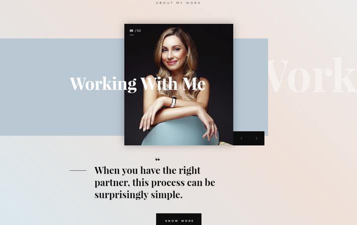 Тенденции веб-дизайна в 2019 году: разбитая разметка сайта jemimahbarnett.com