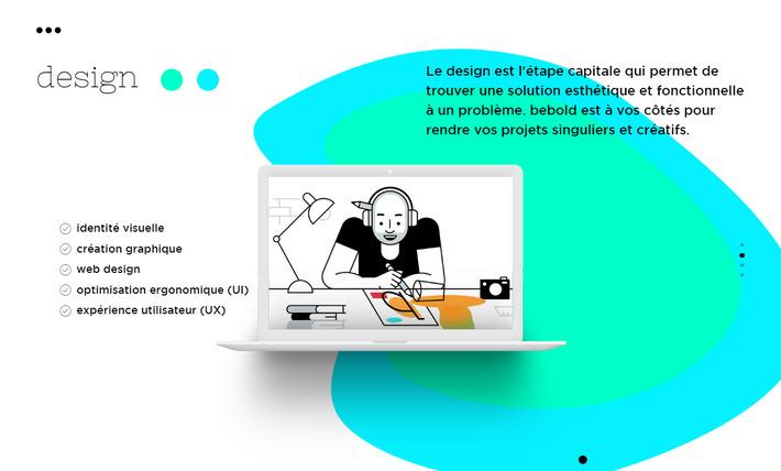 Абстрактный формы - веб дизайн тенденция 2019 на примере сайта bebold.ch