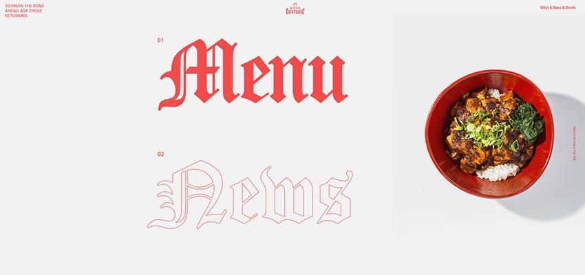 Оформление навигации на сайте стилизованным под старину контурным шрифтом с эффектной заливкой
