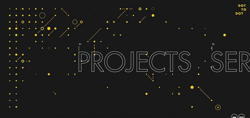 Удачное использование контурной типографики на сайте с технологичным дизайном