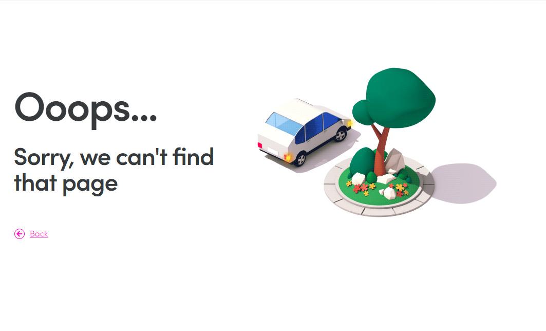 Красиво оформленная страница ошибки 404 сайта такси-сервиса - Lyft