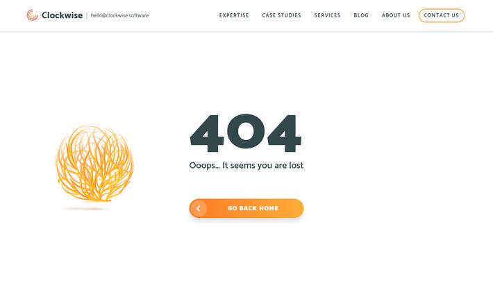 Красивая анимация 404 страницы - clockwise.software
