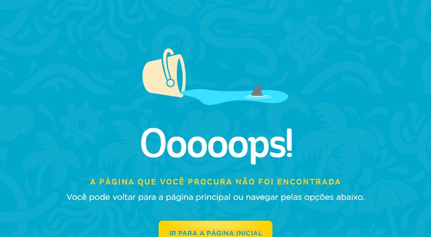 Акула плавает в луже на странице 404 сайта бразильского пляжного парка beachpark.com.br