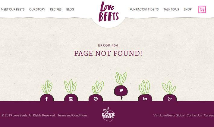 404 страница с креативным интерактивом социальных кнопок - lovebeets.com