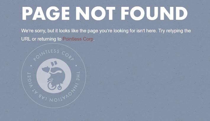 Забавная анимированная печать с медведем на 404-й странице Pointless Corp