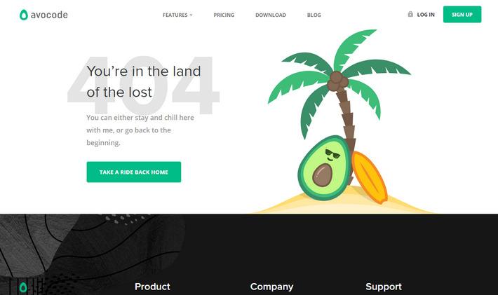 Страница ошибки со скрытым смыслом: avocode.com/404 от авокадо