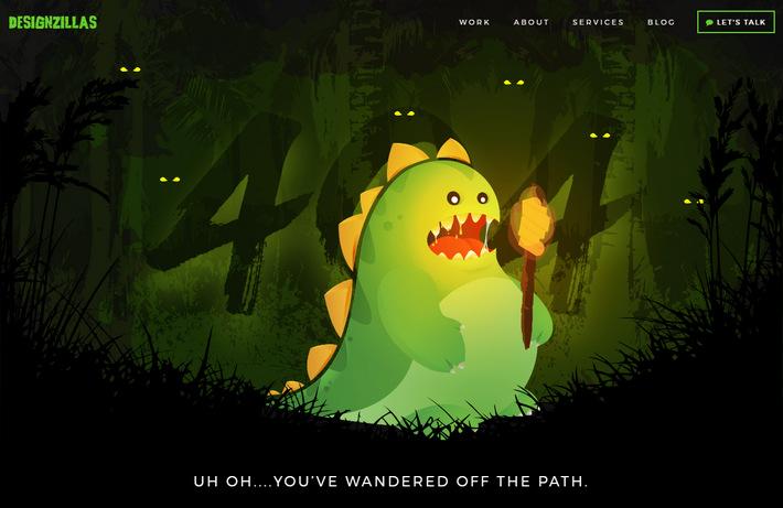 Монстр вылупляется на 404 странице - мультяшная страшилка креативной студии Дизайнзилла