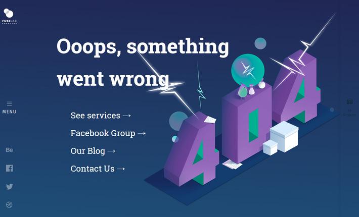 Красочная эффектная страница 404 - Fuse Lab Ceative