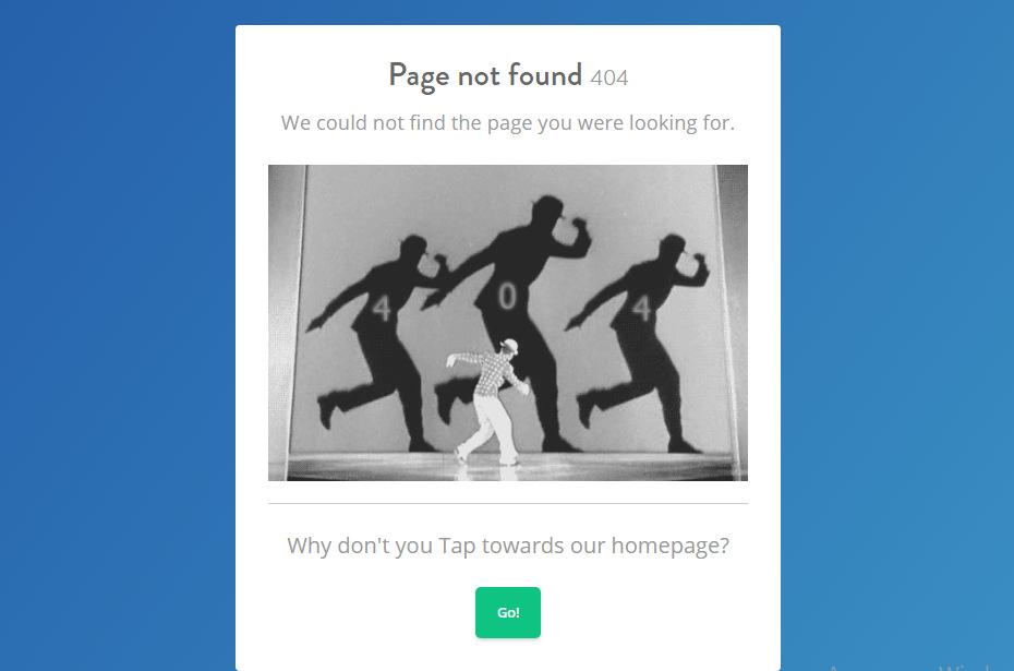 Прикольная 404 страница - tapfiliate.com