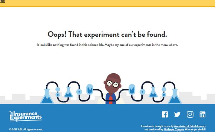 Позитивная веселая мульти-страница 404 — Insurance Experiments