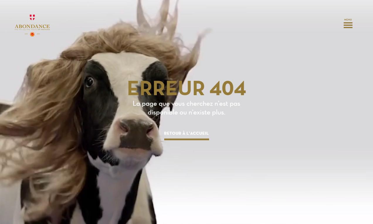 Забавная 404 страница французского сайта — корова-красавица