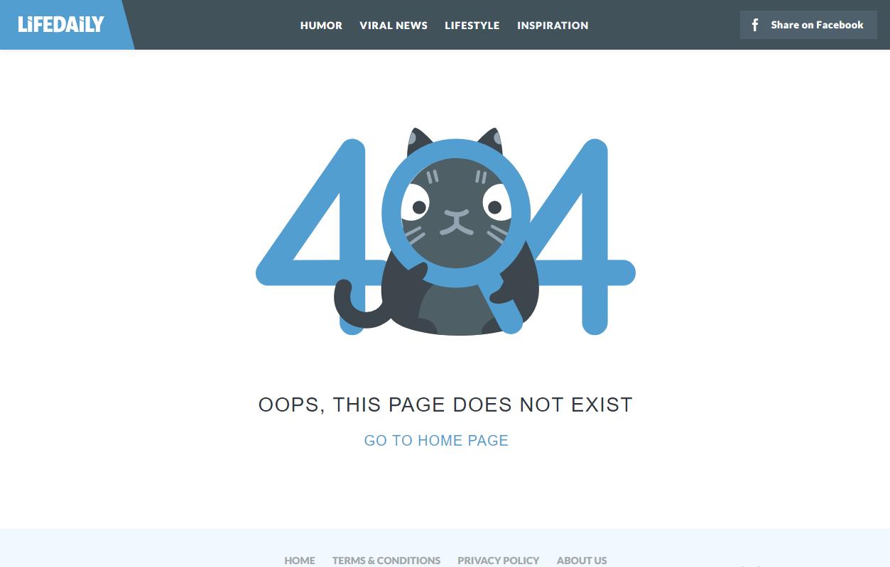 Интересующийся кот на 404-й странице ошибки - lifedaily.com/404