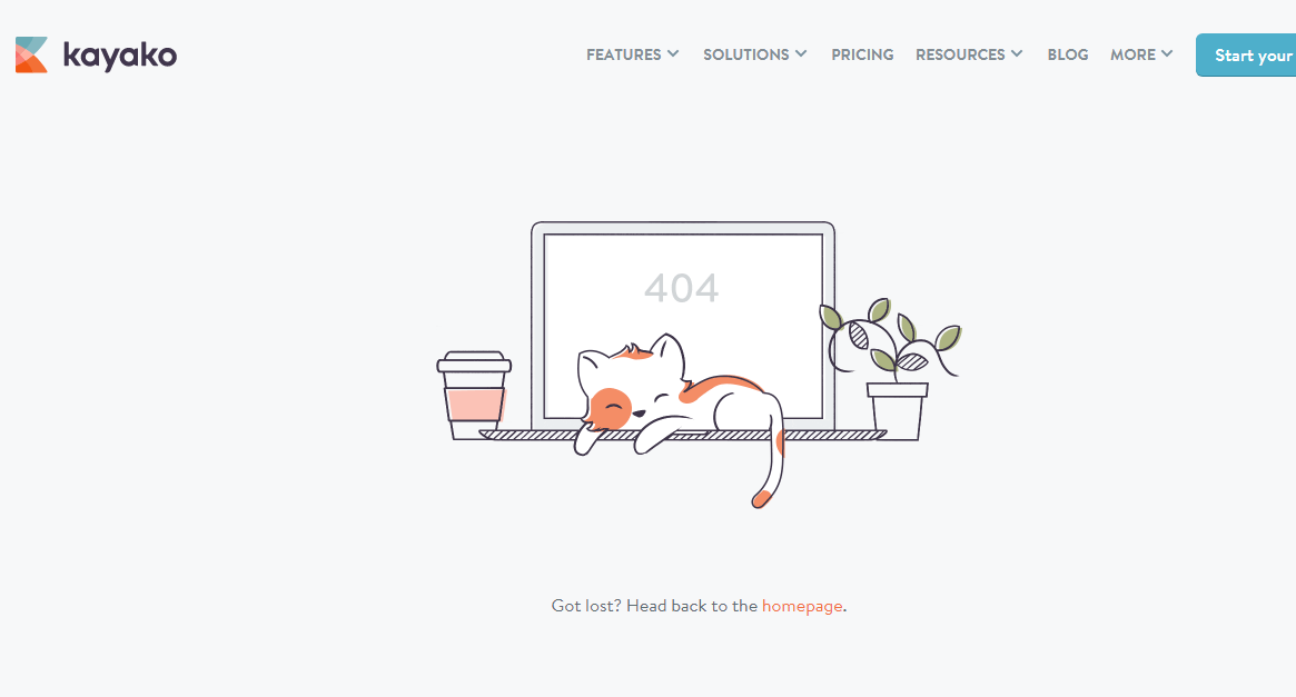 Позитивная 404 страница - kayako.com