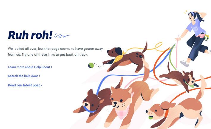 Примеры хороших страниц 404 - helpscout.com