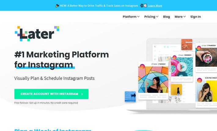 Later.com - высококонверсионный лендинг по продвижению в социальной сети Инстаграм