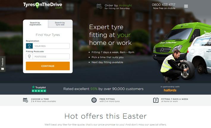 Высококонверсионный лендинг авто тематики с ясным заголовком - TyresOnTheDrive