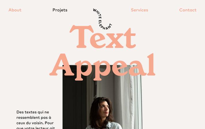 white-elephant.fr - эффектный копирайтерский сайт-визитка с портфолио проектов Жюли Бартелеми