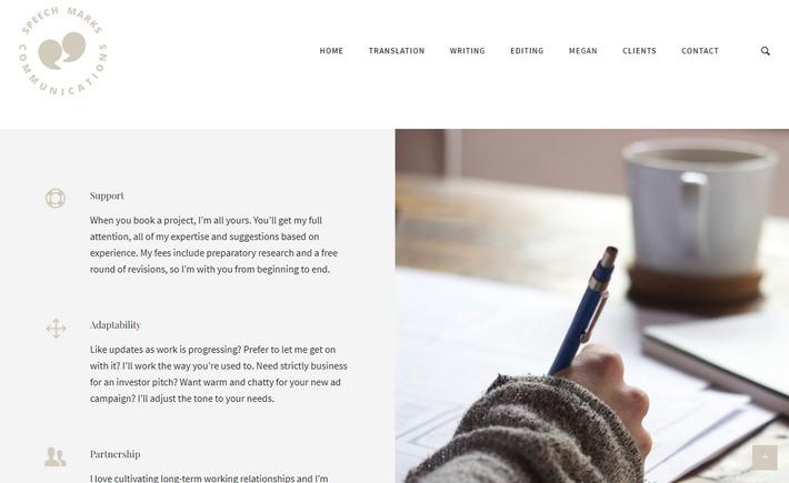 Копирайтер Меген Онионс приятно оформила свой WordPress сайт - speechmarkscommunications.com