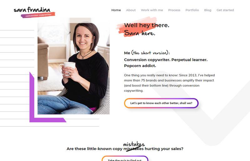 Личные сайты копирайтеров: пример модного веб-дизайна