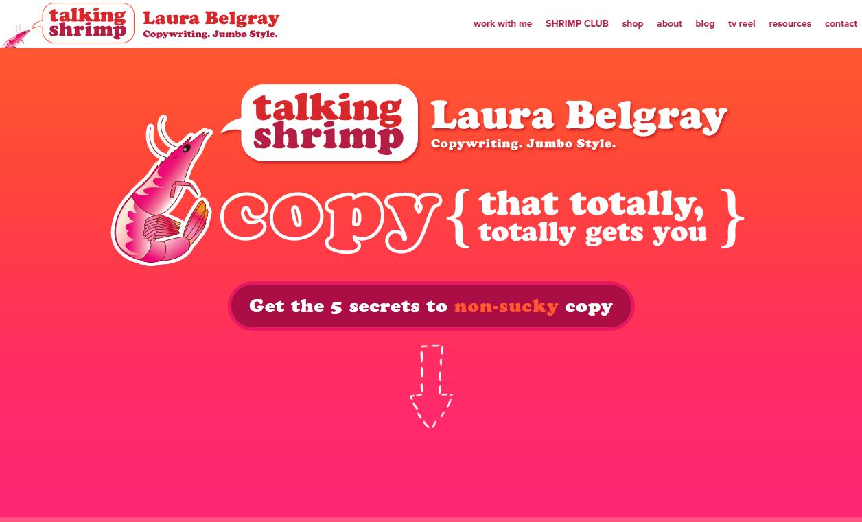 Пример модного дизайна личного сайта копирайтера
