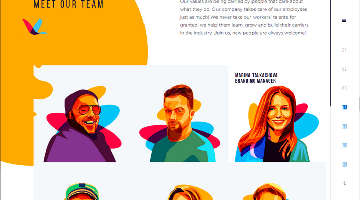 Illustrations in web design - a trendy website with beautiful flat graphics