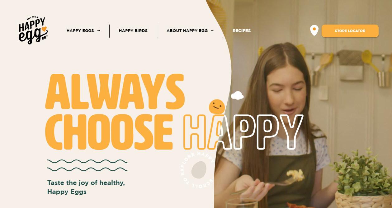 Типографика с элементом интерактива - тренды, шрифтовые контрасты и совмещение типографских стилей на сайте happyegg.com
